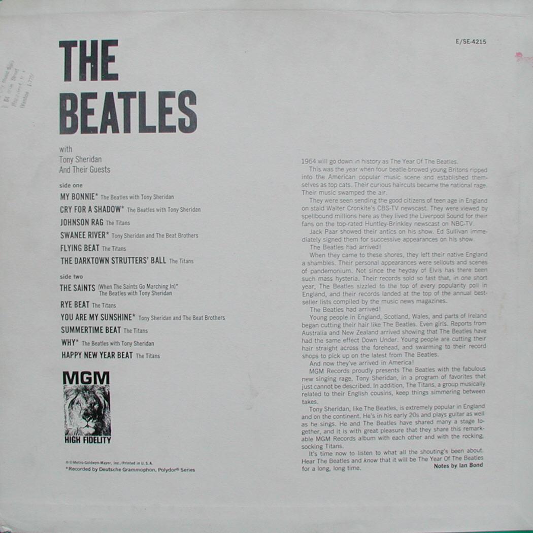 MGM SE 4215 Jacket Beatles Price Guide by McLenson & Kaye